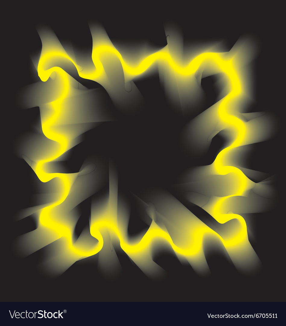 Yellow smoke frame on black background vector image