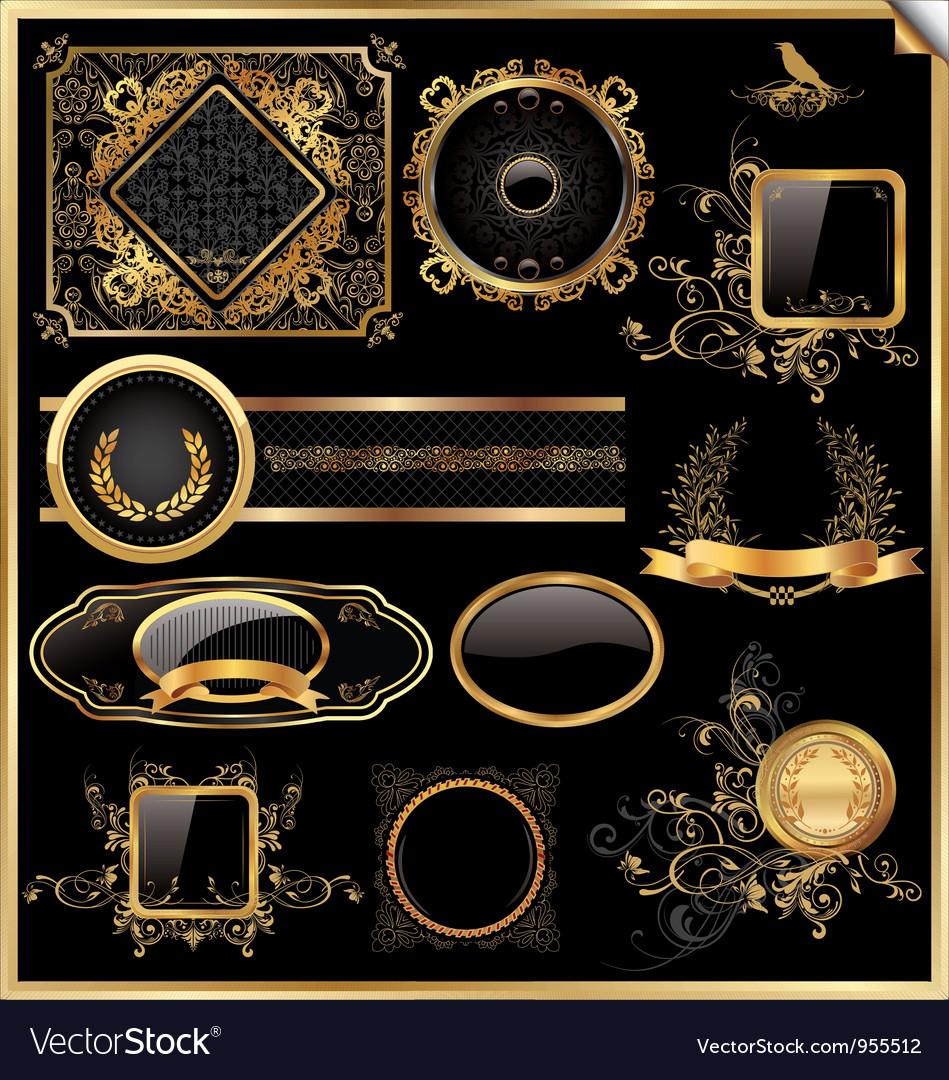 Set of black gold - framed labels vector image