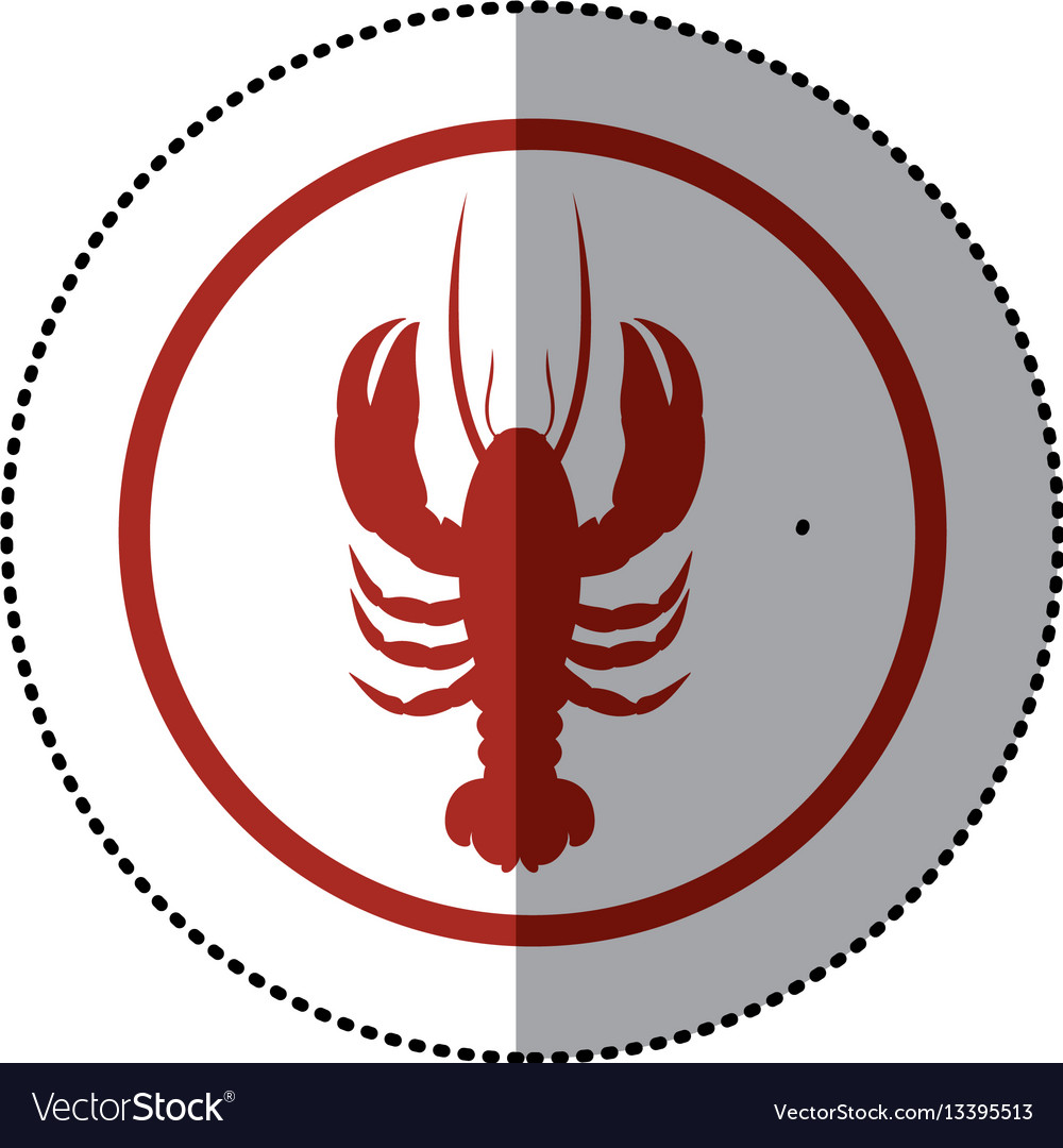 Sticker red circular border with silhouette vector image