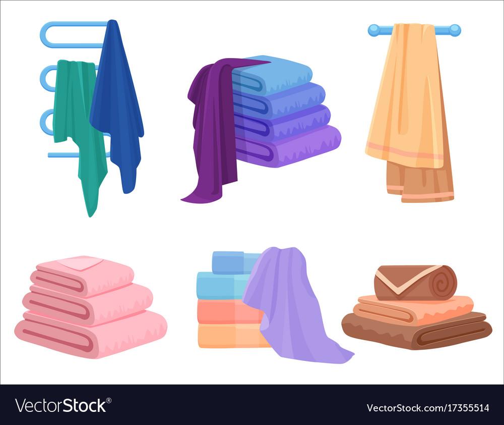 Towels set cloth towel for bath cartoon vector image