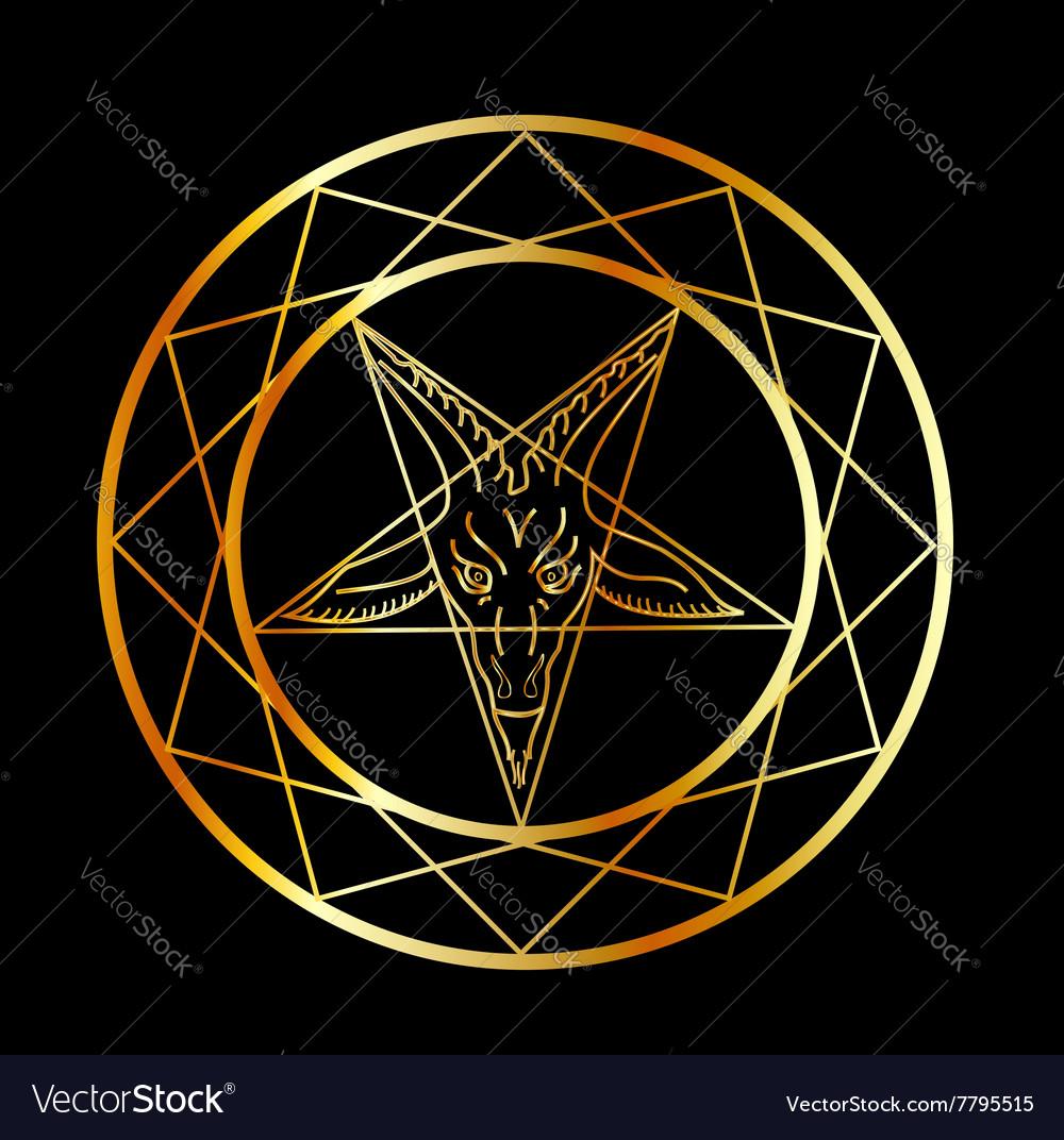 Golden sigil of Baphomet vector image