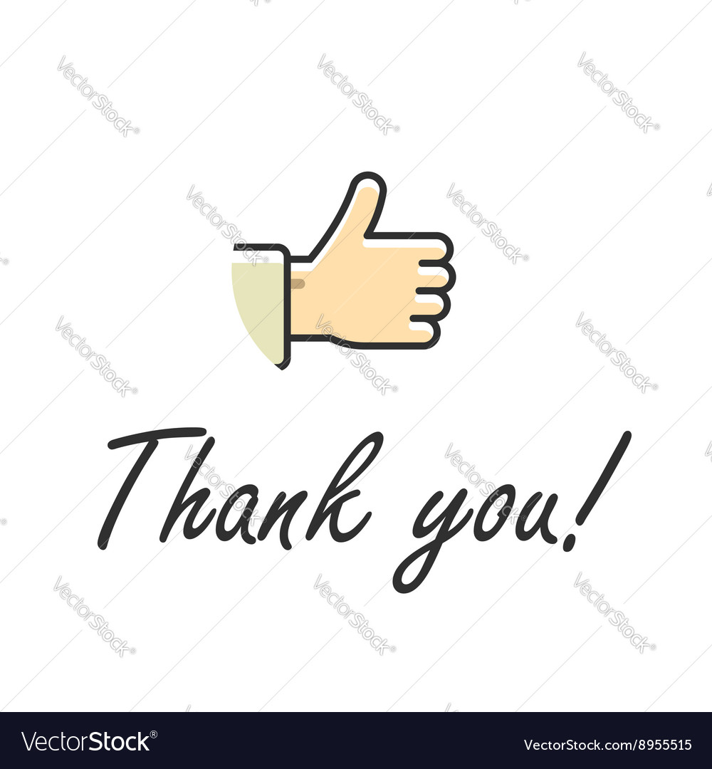 Thank you note text isolated vector image