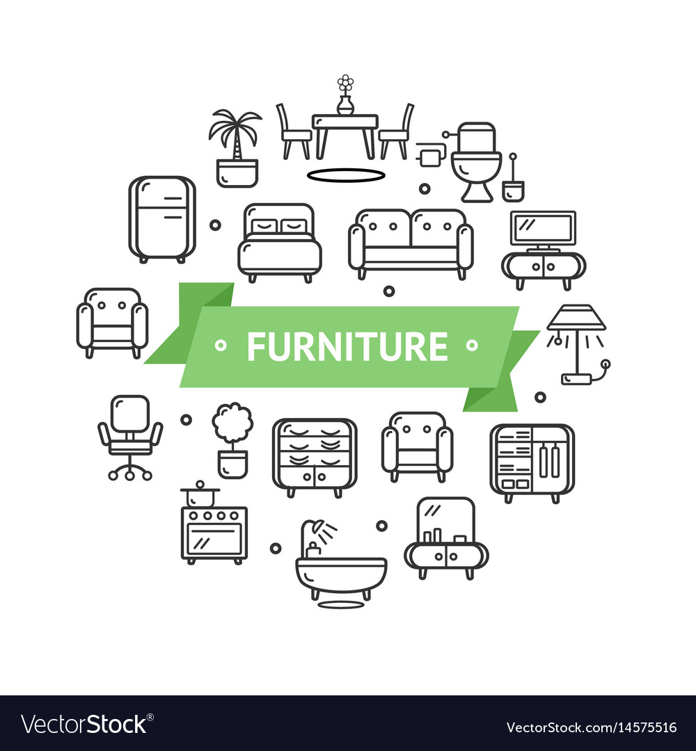 Furniture round design template thin line icon vector image