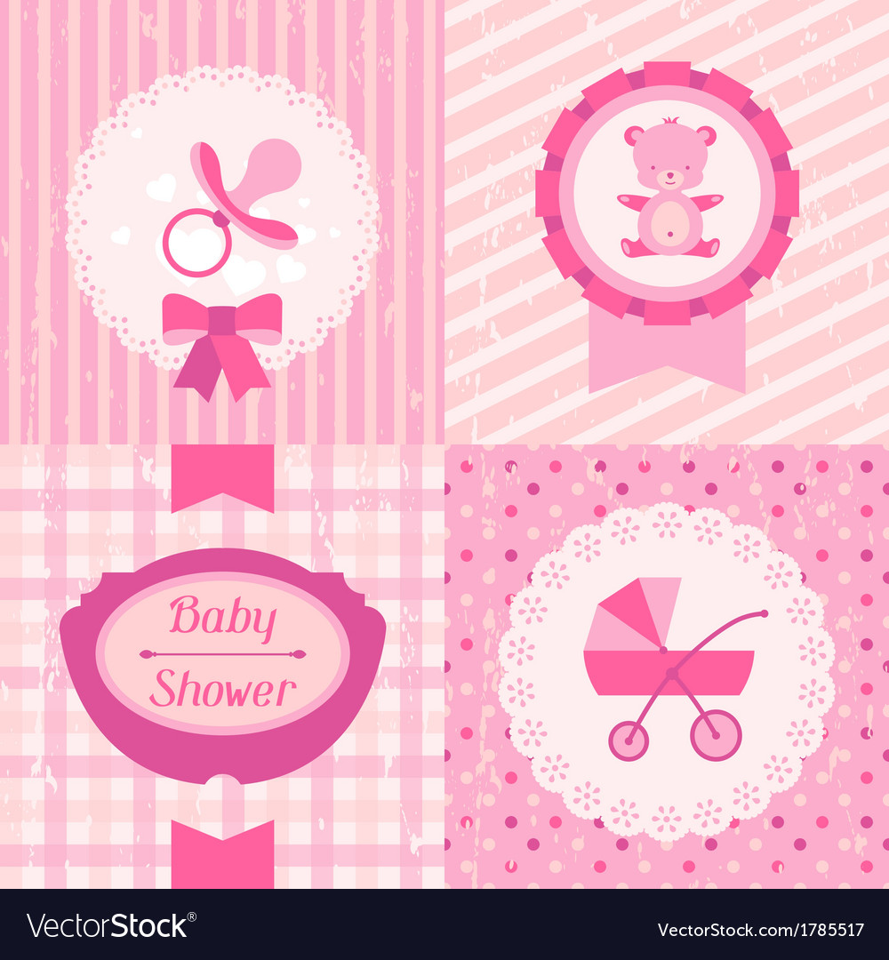 Girl baby shower invitation cards vector image
