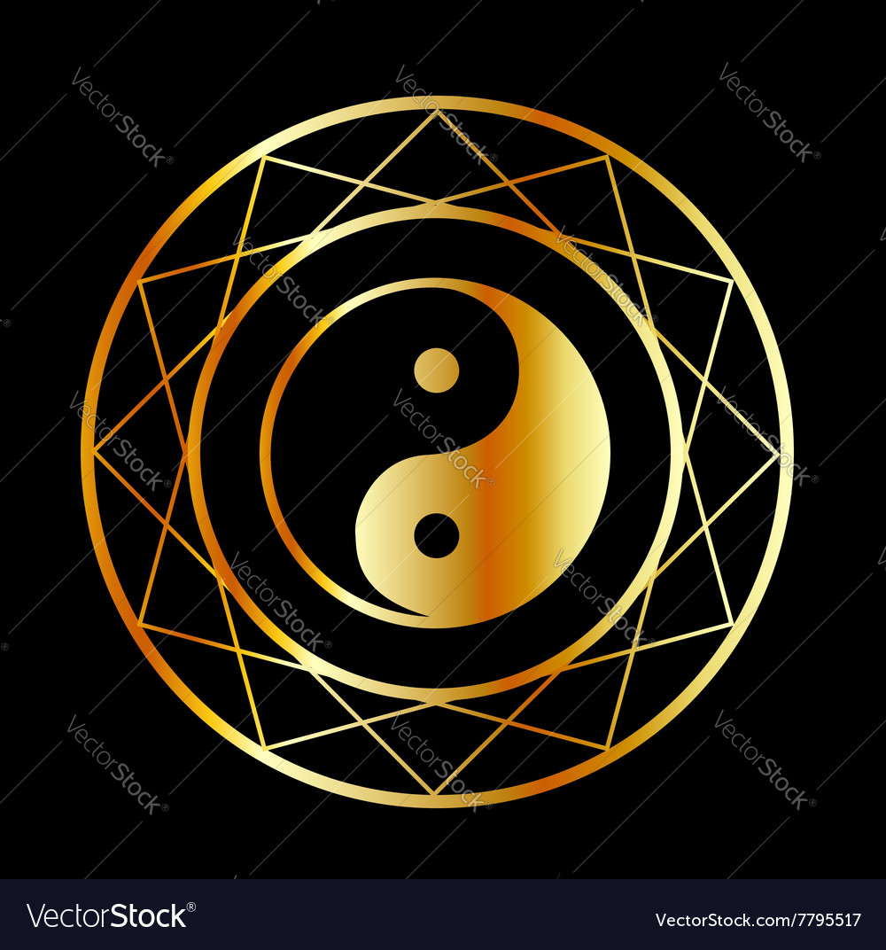 Golden symbol of Taoism Daoism vector image