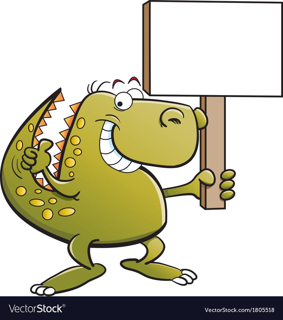 Cartoon Tyrannosaurus Rex Holding a Sign vector image
