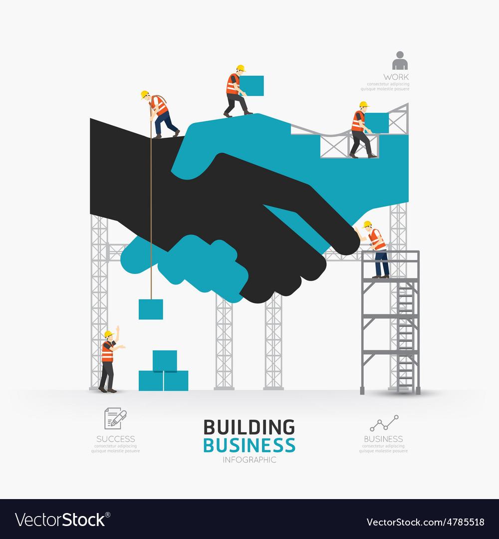 Infographic business handshake shape template vector image
