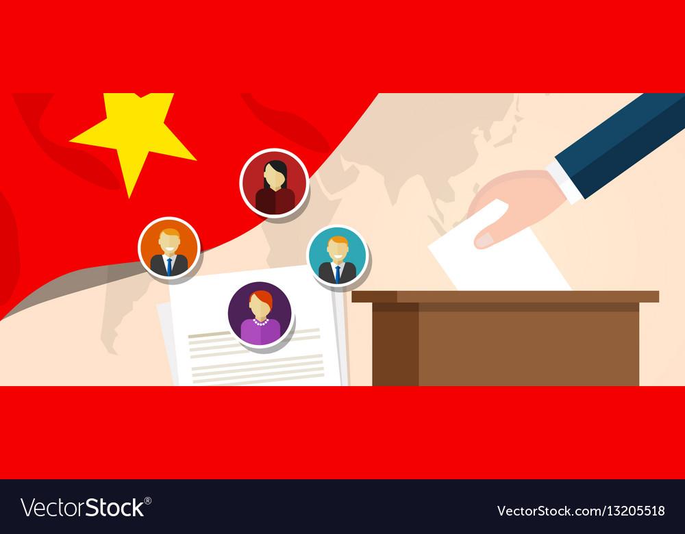 Vietnam democracy political process selecting vector image