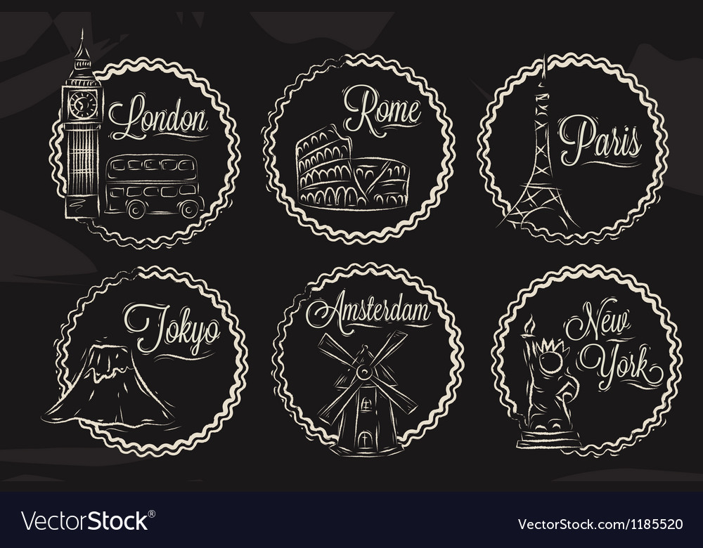 Chalk icons cities vector image