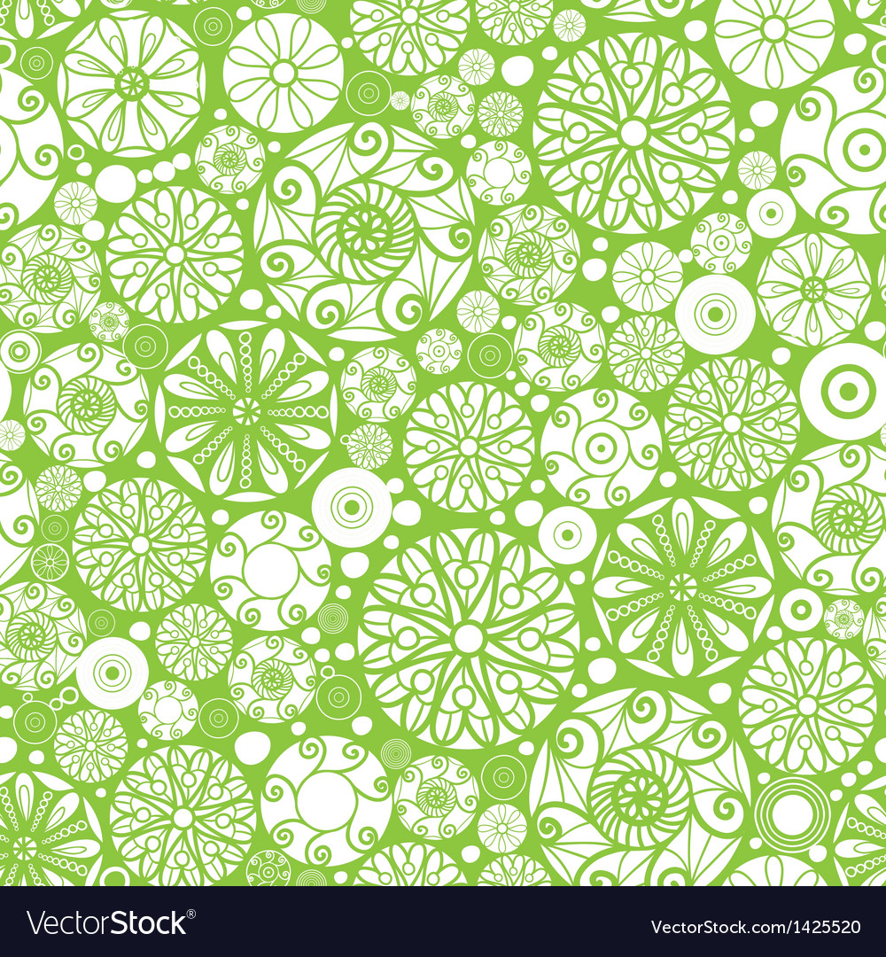 Abstract green and white circles seamless pattern vector image
