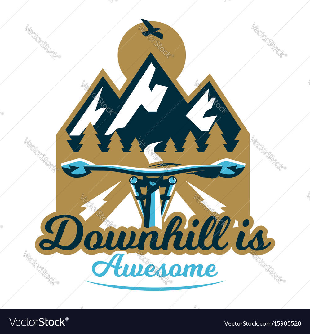Logo mountain bike first-person view a trip out vector image