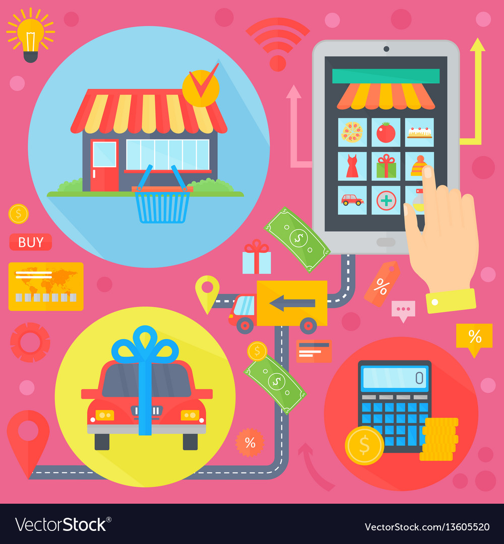 Online shopping mobile marketing and digital vector image