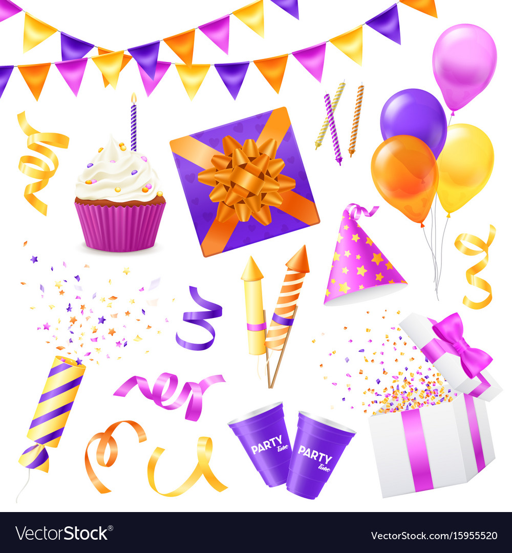 Realistic party icon set vector image