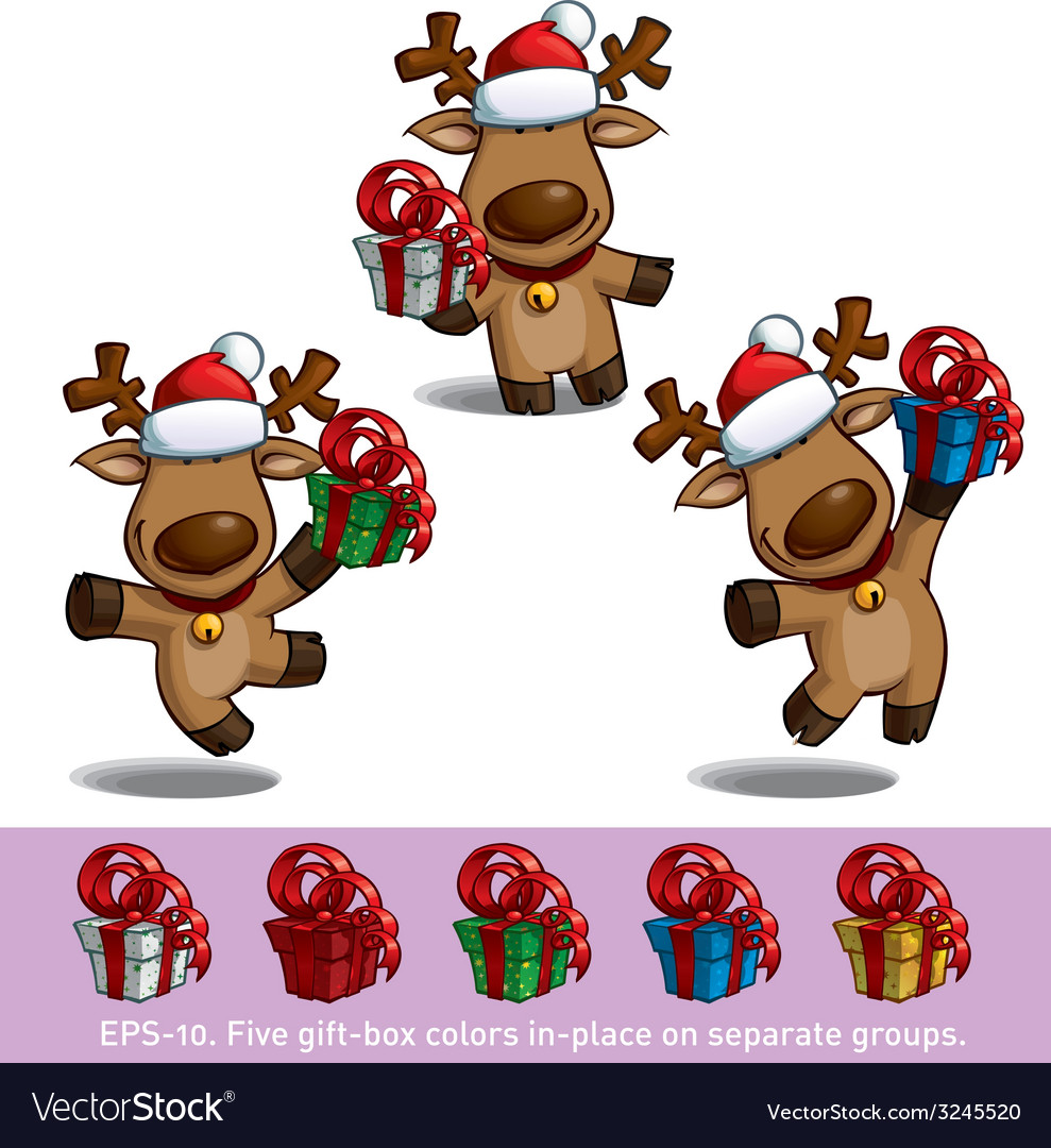 Santas Elks Holding a Gift vector image
