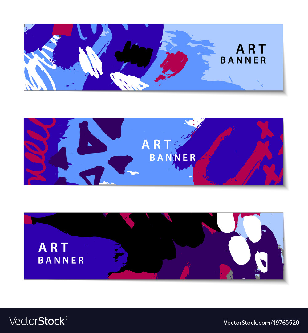 Set of abstract artistic painted horizontal vector image