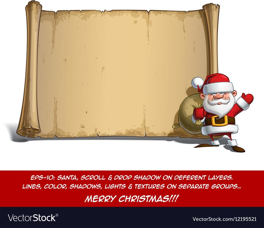 Happy Santa Scroll Sack of Gifts vector image