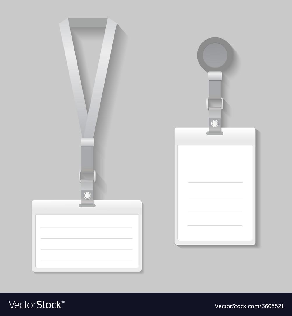 Lanyard name tag holder end badge templates vector image