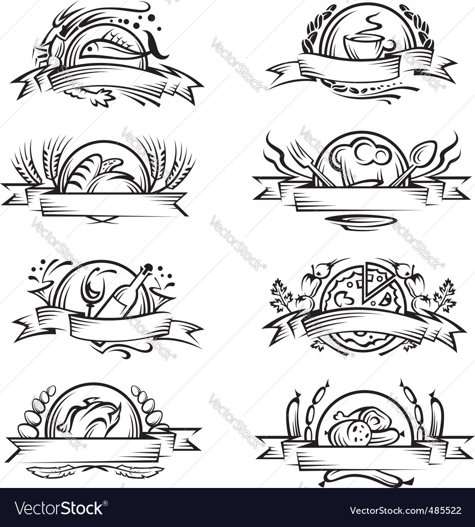 Set of different food banners vector image