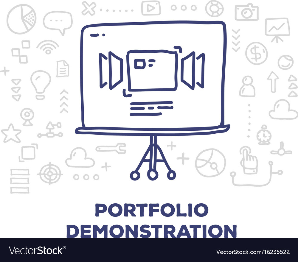 Creative of big tripod screen with line icons and vector image