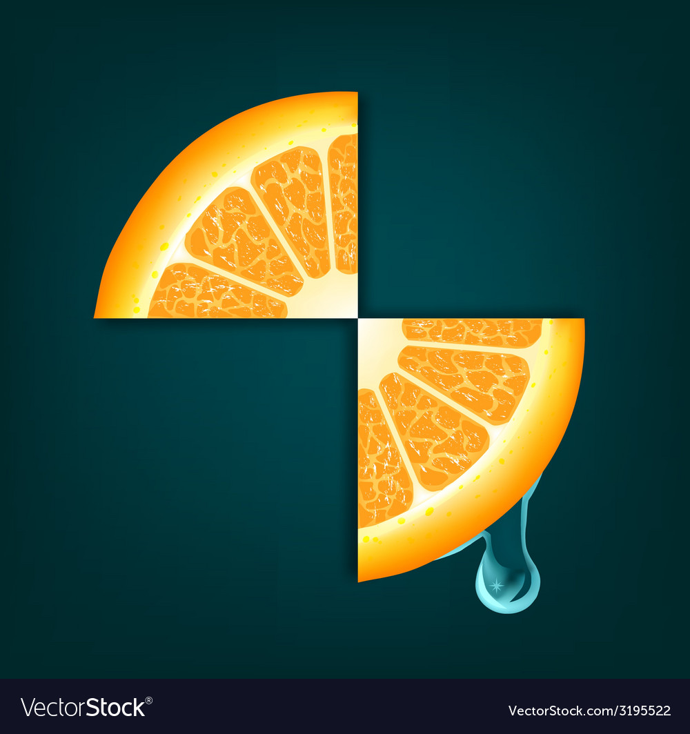 Flowing down drop on an orange segments background vector image