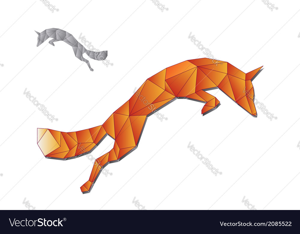 Jumping fox made of triangles vector image