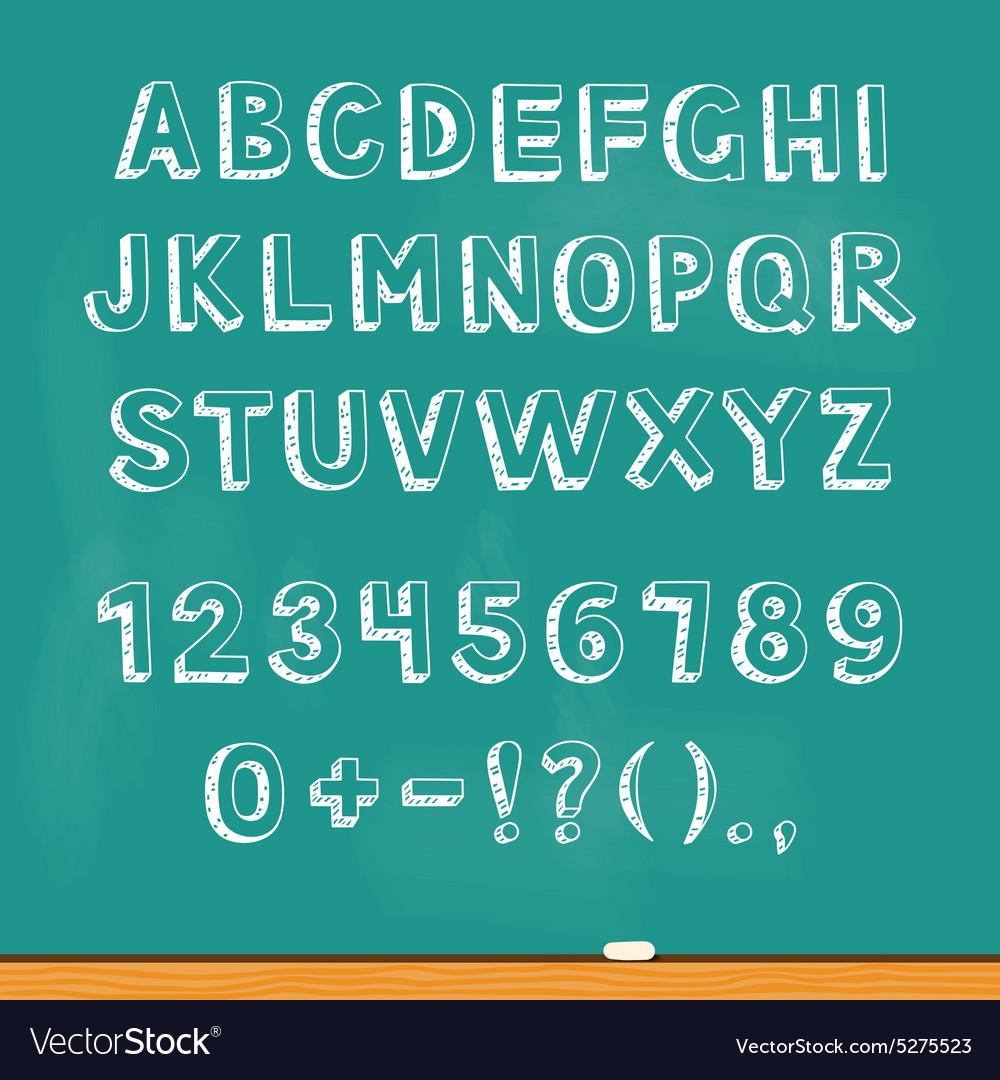 Drawing alphabet lettering on chalk blackboard vector image