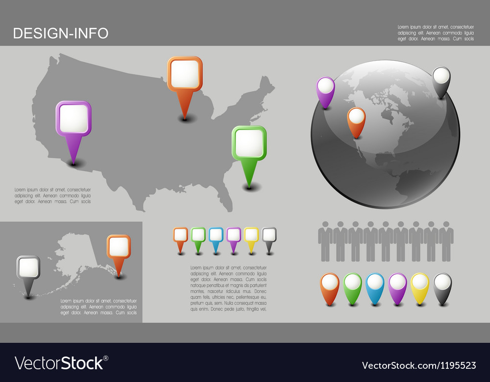 Globe and USA Map with Pointers vector image