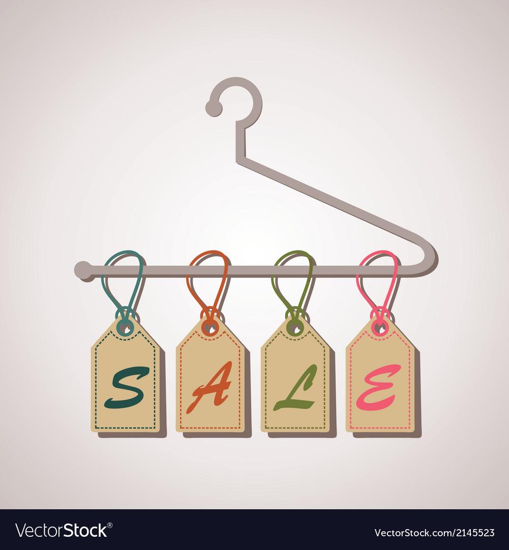 Hanging retro sale banner vector image