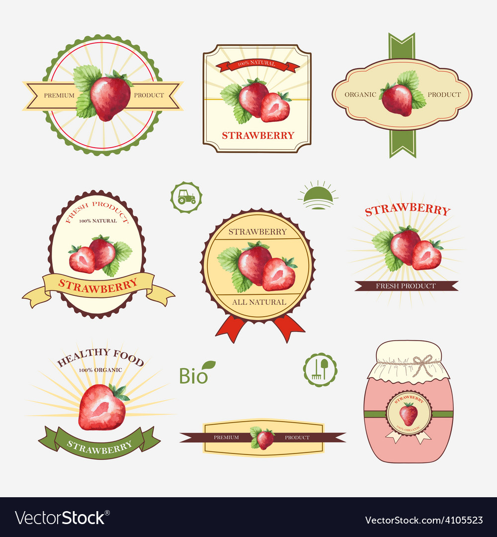 Strawberry Set Of Label Design And Templates Vector Image  Label Design Templates