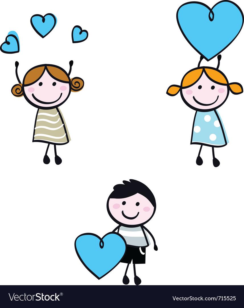 Stick doodle kids vector image