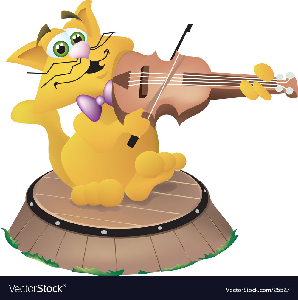 Cat and the fiddle vector image