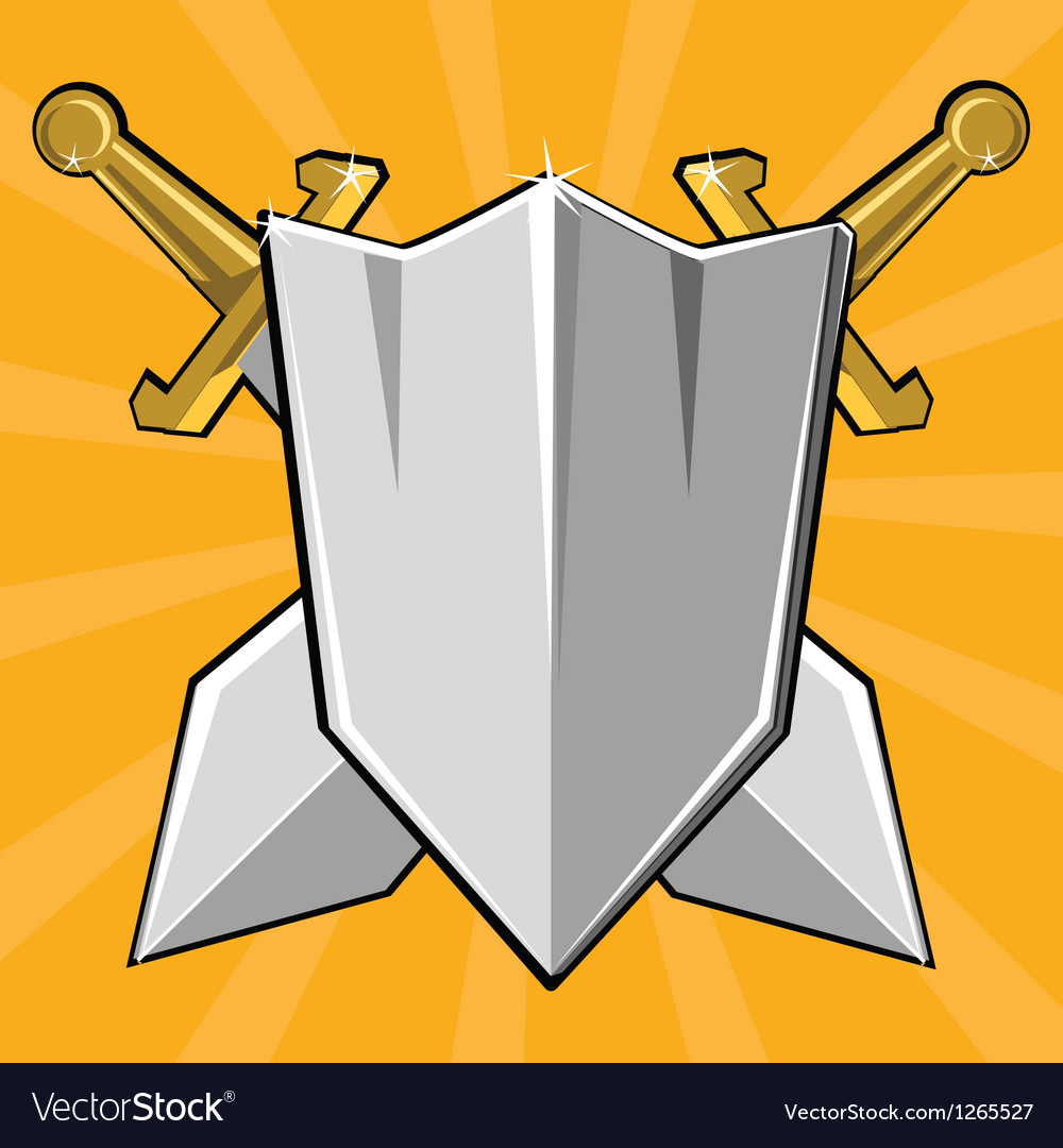 Two crossed swords and shield vector image