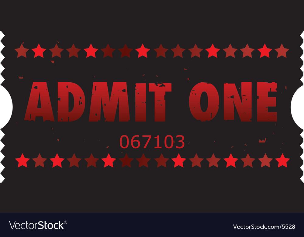 Grunge movie ticket vector image