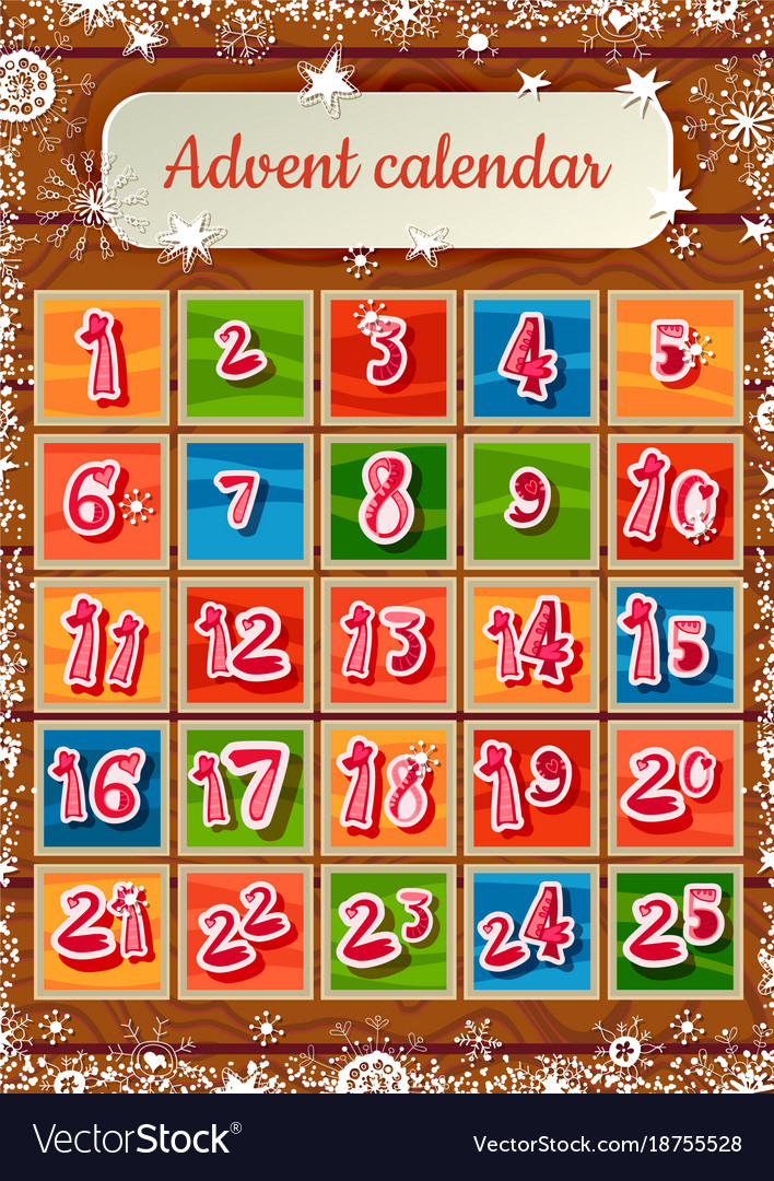 Christmas childish advent calendar on wooden vector image