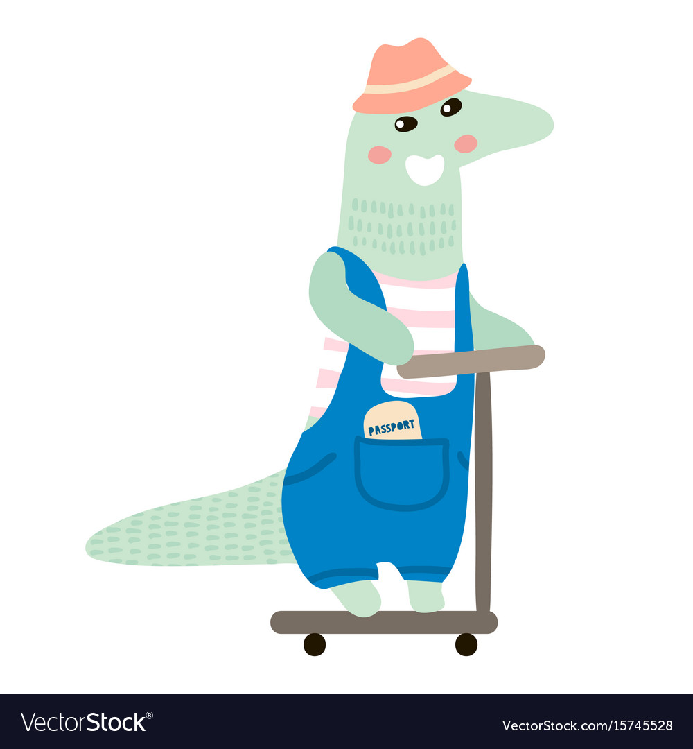 Cute crocodile boy hand drawn vector image