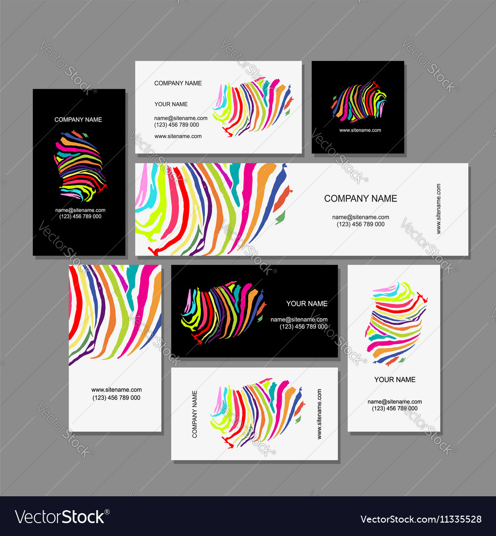 Set of business cards colorful zebra print design vector image reheart Gallery