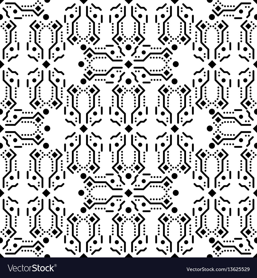Black and white ornament seamless pattern vector image