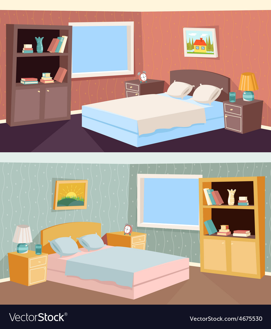 cartoon bedroom apartment livingroom interior vector image. Black Bedroom Furniture Sets. Home Design Ideas