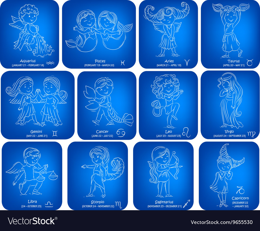 Horoscope signs kids set vector image