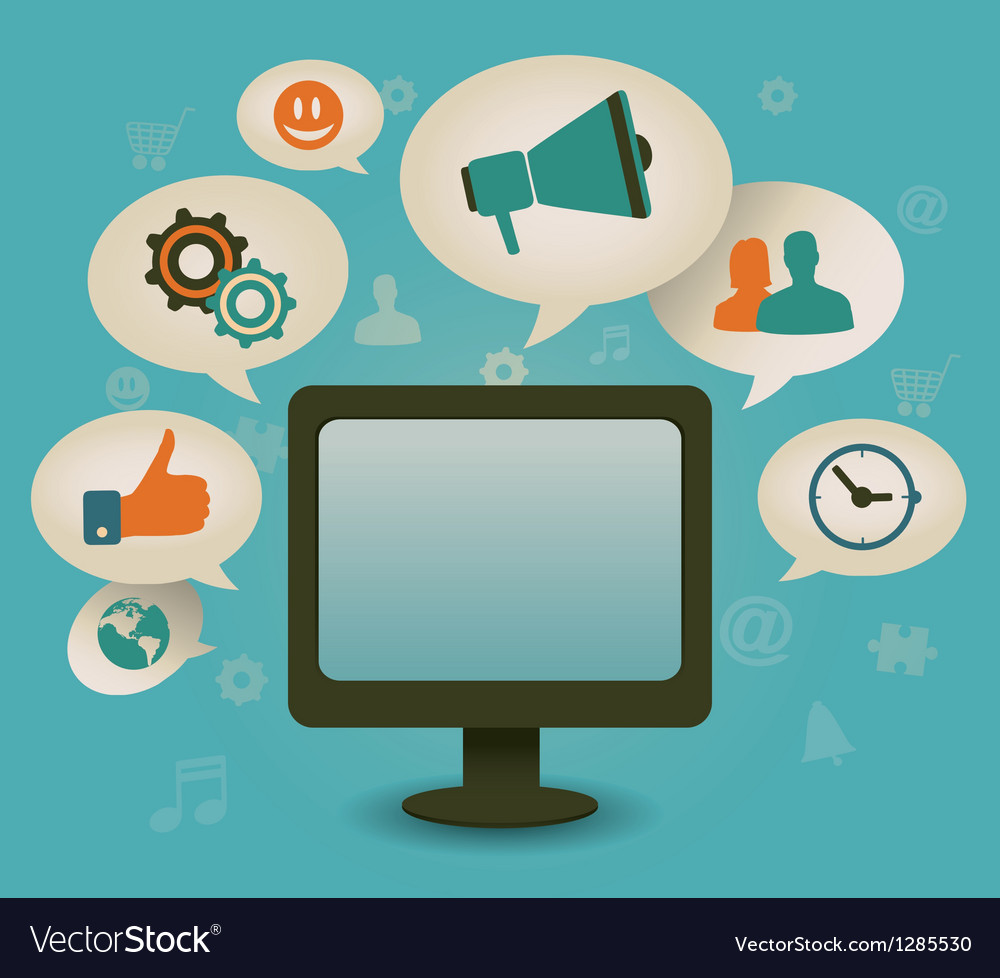 Vintage concept of social media vector image