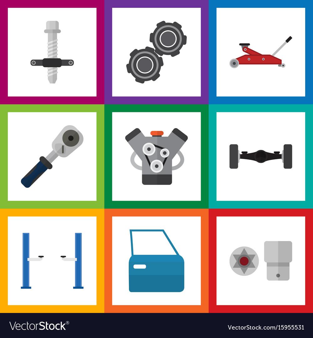 Flat icon service set of suspension auto jack vector image