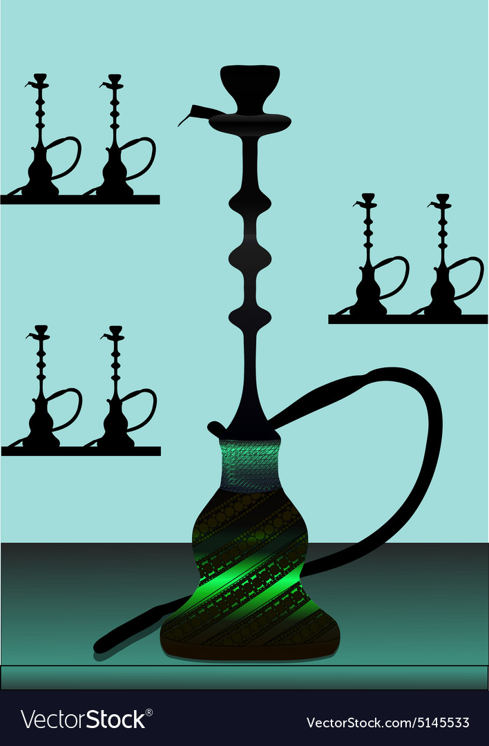 Green hookah with background - vector image
