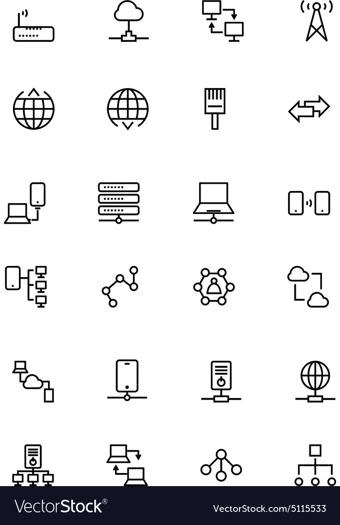 Network and Sharing Outline Icons 2 vector image