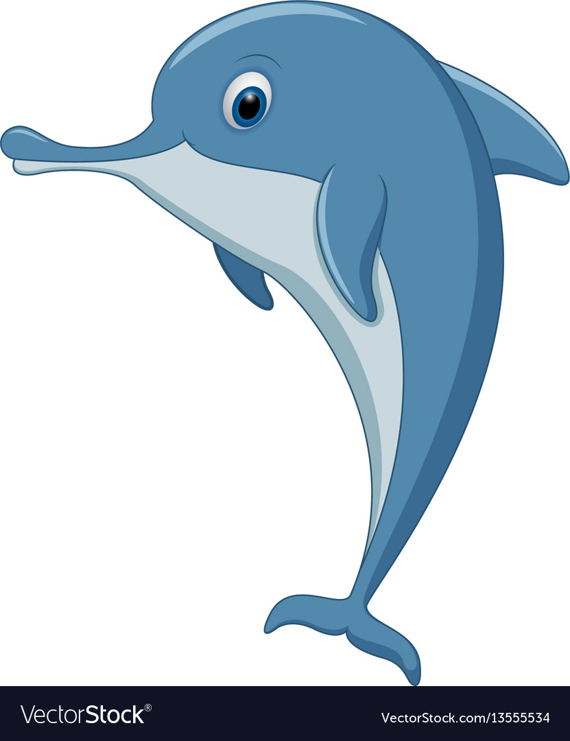 Happy dolphin standing on white background vector image