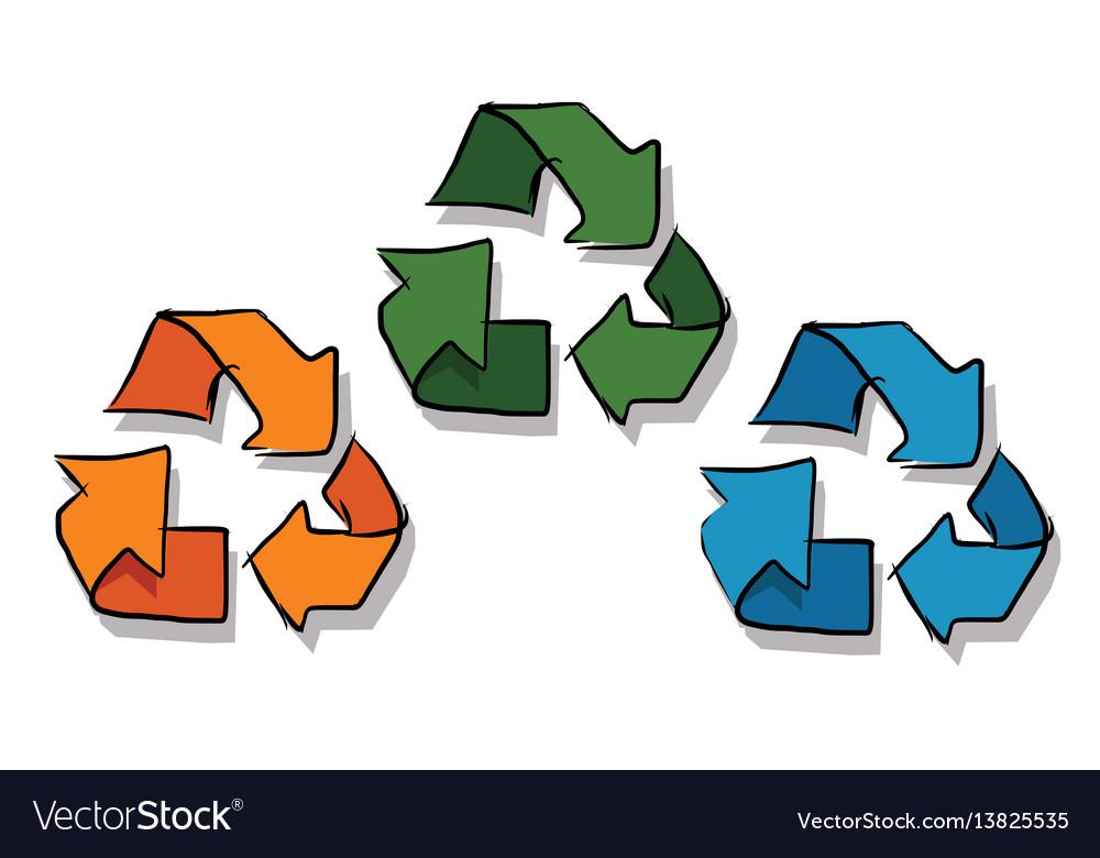 Recycle icon in sketch three color orange green vector image