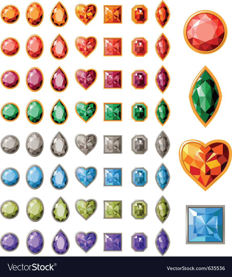Collection of different jewels vector image