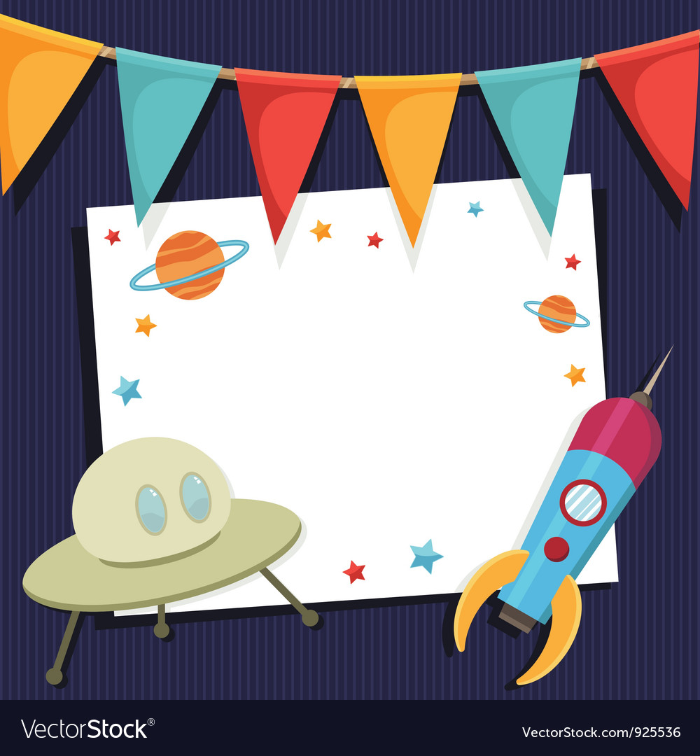Space party card vector image