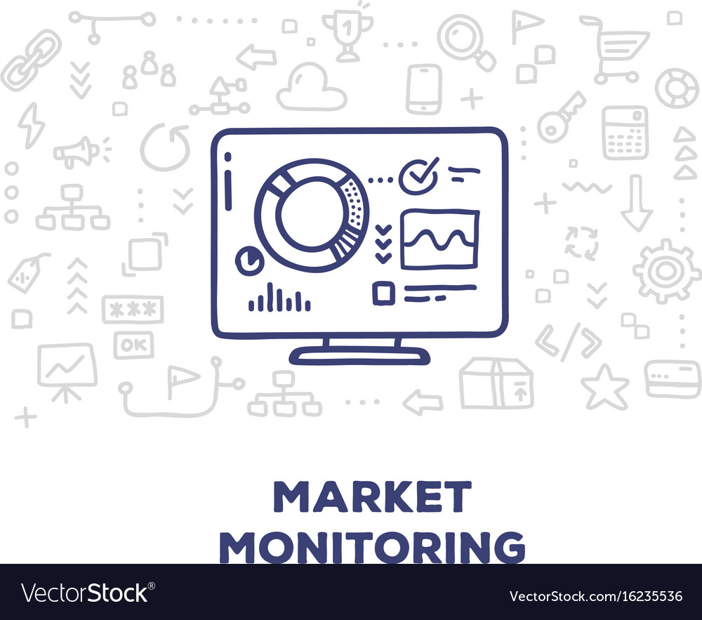 Creative of big monitor with graph and chart line vector image