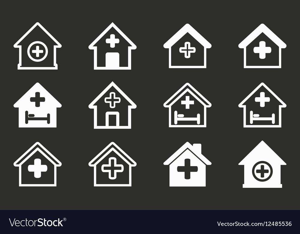 Hospital icon set vector image