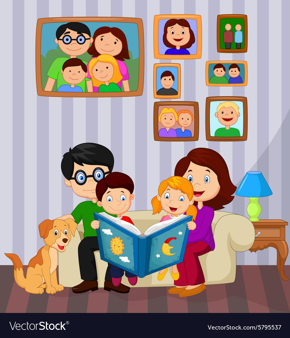 Cartoon Living Room: Cartoon Read A Story Book In The Living Room Vector Image